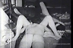 / Bisexual Threesome Group Sex of two Boys and one Girl Fucking in a Monochrome Vintage Porn Video of 1950s