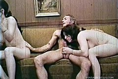 / Vintage Porn Video of two Young Amateurs Sucking Dick of Their Boss at the Office as They Want to get Jobs in His Firm