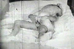 / Naked Couple in Huge Bed is Getting a Huge Pleasure Fucking Hard this Real Vintage Footage Came from 1960s